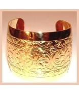 GOLD EGYPTIAN STYLE ENGRAVED CUFF BRACELET Size 7 - $44.99