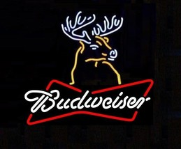 "New Bud Light Budweiser Bow Tie Deer Beer Real Glass Neon Sign 19""x15"" - $116.86"