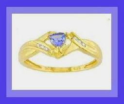 0.50CT TRILLION TANZANITE & DIAMOND 10K YELLOW GOLD RING - $79.99