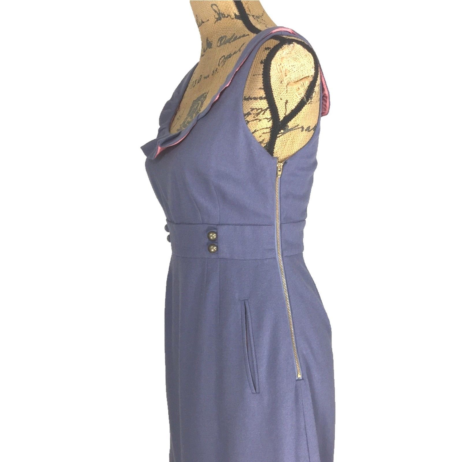 Anthropologie Dress 4 Blue Ruffle Button Pocket MOULINETTE SOEURS Familiar Place