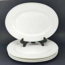 4 Oval Plates Pfaltzgraff Dinnerware Serving Dishes Blue Stripes USA - $20.90