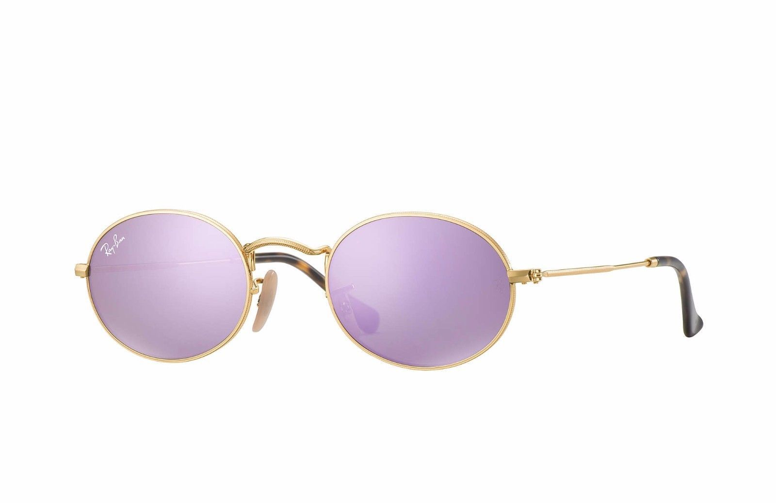 937340521a 57. 57. Previous. Authentic Ray Ban RB3547-N 001 8O Oval Gold Lilac  Mirrored Lens Sunglasses 51mm