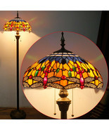 Tiffany Style Floor Lamp Dragonfly 64 Orange Blue Stained 2 Light Antiqu... - $216.48