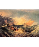 Wreck of a transport ship by Joseph Mallord Turner - 24x32 inch Canvas W... - $51.99