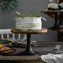 Acacia Wood Cake Stand Nordic Round Wedding Cupcake Dessert Pedestal Dis... - $50.38+