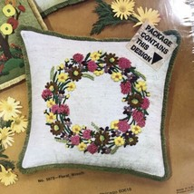 "WonderArt Stitchery 14"" Pillow- Floral Wreath Vintage Embroidery kit w Y... - $18.99"