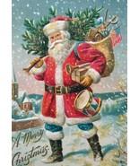 Vintage Christmas Postcard Santa Claus P Sander Glitter Mica Snow Haverh... - $20.58