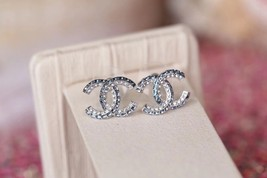 AUTH NEW CHANEL 2019 Classic CC Bi-Color Blue Crystal Silver EARRINGS image 4