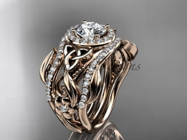 Moissanite Two Band, Rose Gold Diamond Celtic Trinity Knot Bridal Set CT7300S - $3,375.00