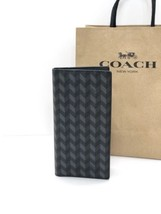 NWT Coach F30295 Men's Breast Pocket PVC Herringbone Print Wallet Black ... - $79.43
