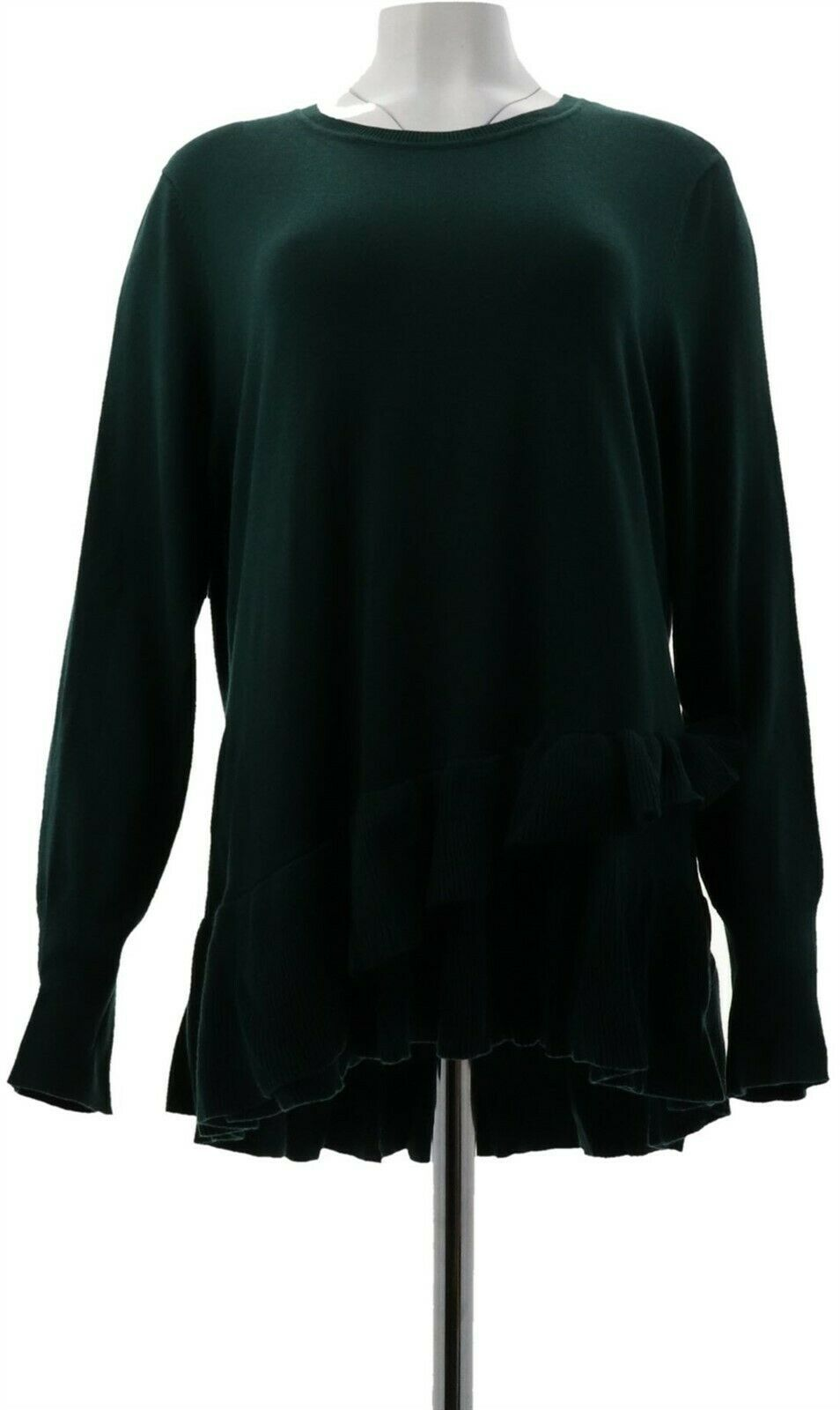 Primary image for Isaac Mizrahi Crossover Ruffle Peplum Sweater Fir Green M NEW A298791