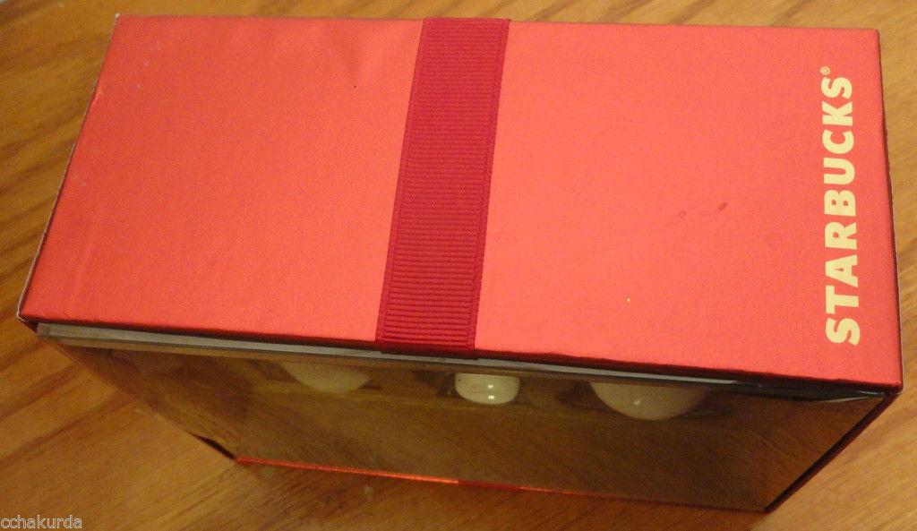 STARBUCKS Christmas Ornament Set 3 NEW Fox Nutcracker Snowman Boxed White Gold