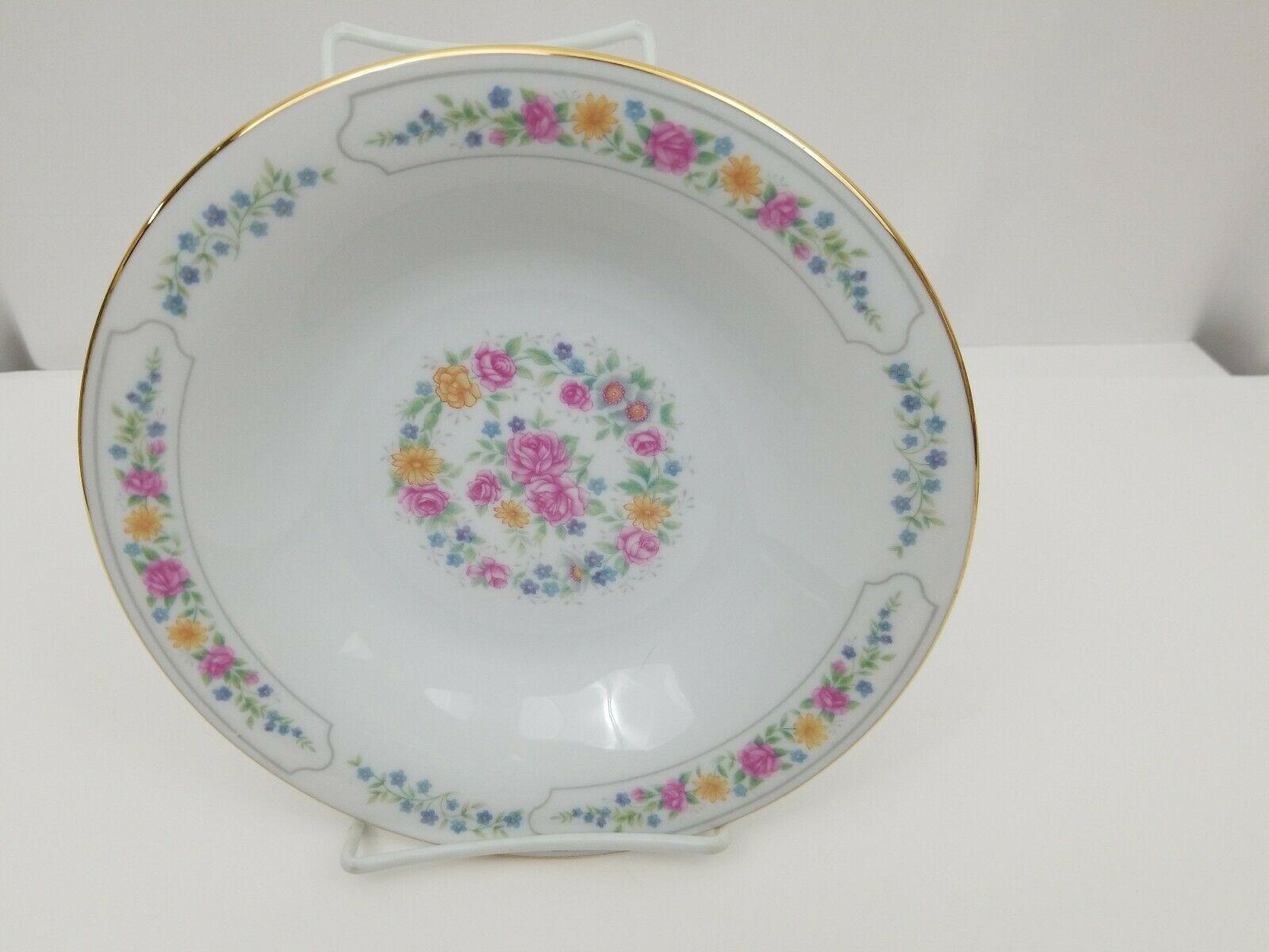 Liling Fine China Cereal Soup Bowls Set of 4 Yung Shen White Roses Keepsake 8.25 image 7