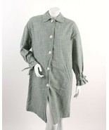 Zara Womens Long Buttoned Jacket Coat L Checked Gingham Blue Green 2541/... - $98.01