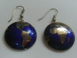 Vintage Signed NJ 1990 Earth/Globe Blue Enamel Hook Earrings - $26.72