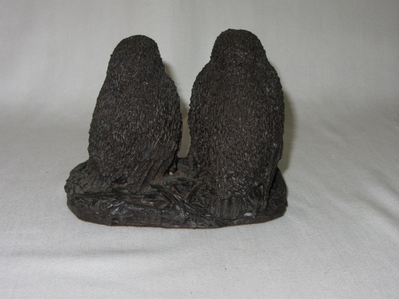 Vintage Figurine 2 Owl Chicks in Nest England Signed Richard Fisher 1973 Resin