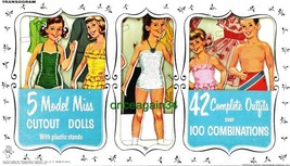 VINTAGE UNCUT 1961 5 MODEL MISS PAPER DOLLS~(ANGELA CARTWRIGHT)~#1 REPRO... - $19.99