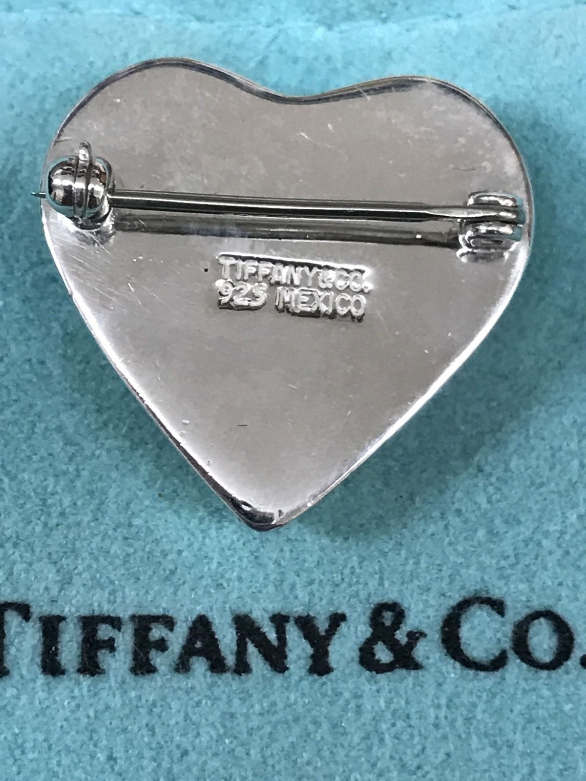 TIFFANY & CO. Sterling Silver Puffy Heart Brooch Pin-FREE SHIPPING and INSURANCE