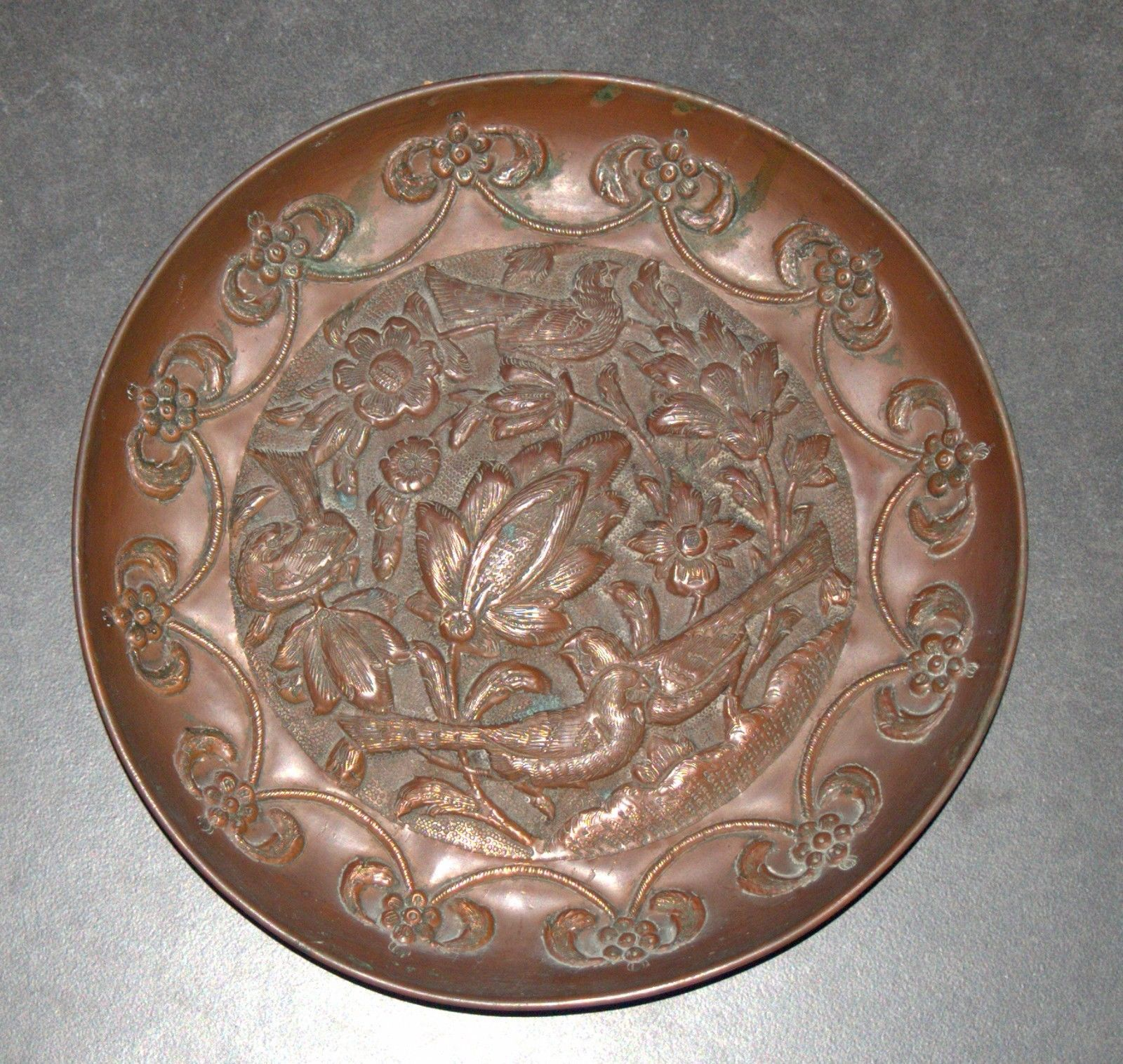 Antique Islamic Copper Tray Plate Birds Flowers Scene Oriental Wall Hang