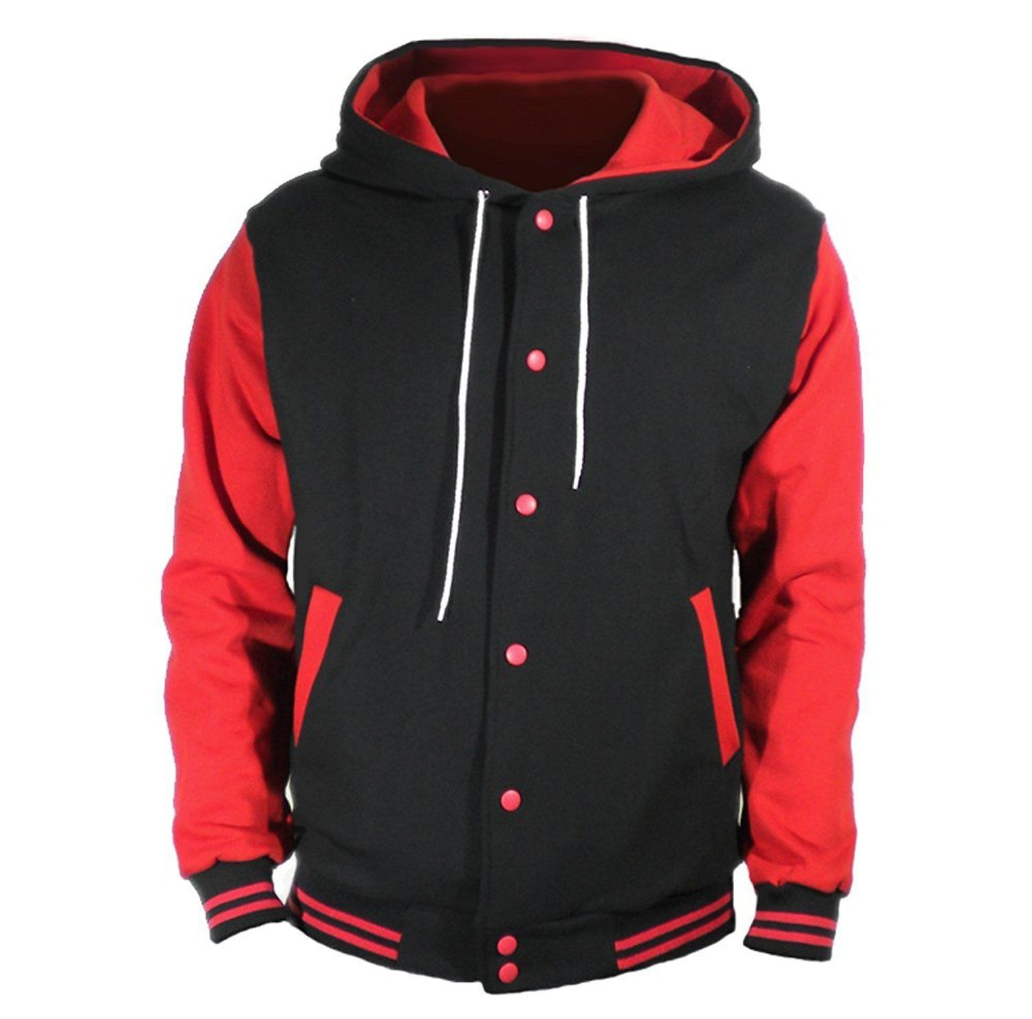 Primary image for Black Varsity full  Wool Letterman Hoodie Red wool  Sleeves XS-4XL