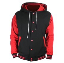 Black Varsity full  Wool Letterman Hoodie Red wool  Sleeves XS-4XL - $52.46+