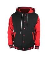 Black Varsity full  Wool Letterman Hoodie Red wool  Sleeves XS-4XL - $52.46+