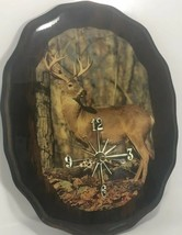 Deer Buck Decoupaged Wood Slab Wall Clock Man Cave Decor - $16.65