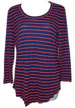 Madewell Striped Scoopneck Tee sz M red/navy slub knit 3/4-sleeve NEW 04344 - $20.00