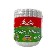 Melitta 8-12 Cup Basket Coffee Filters 600 Count, Paper White -629524 - $8.90