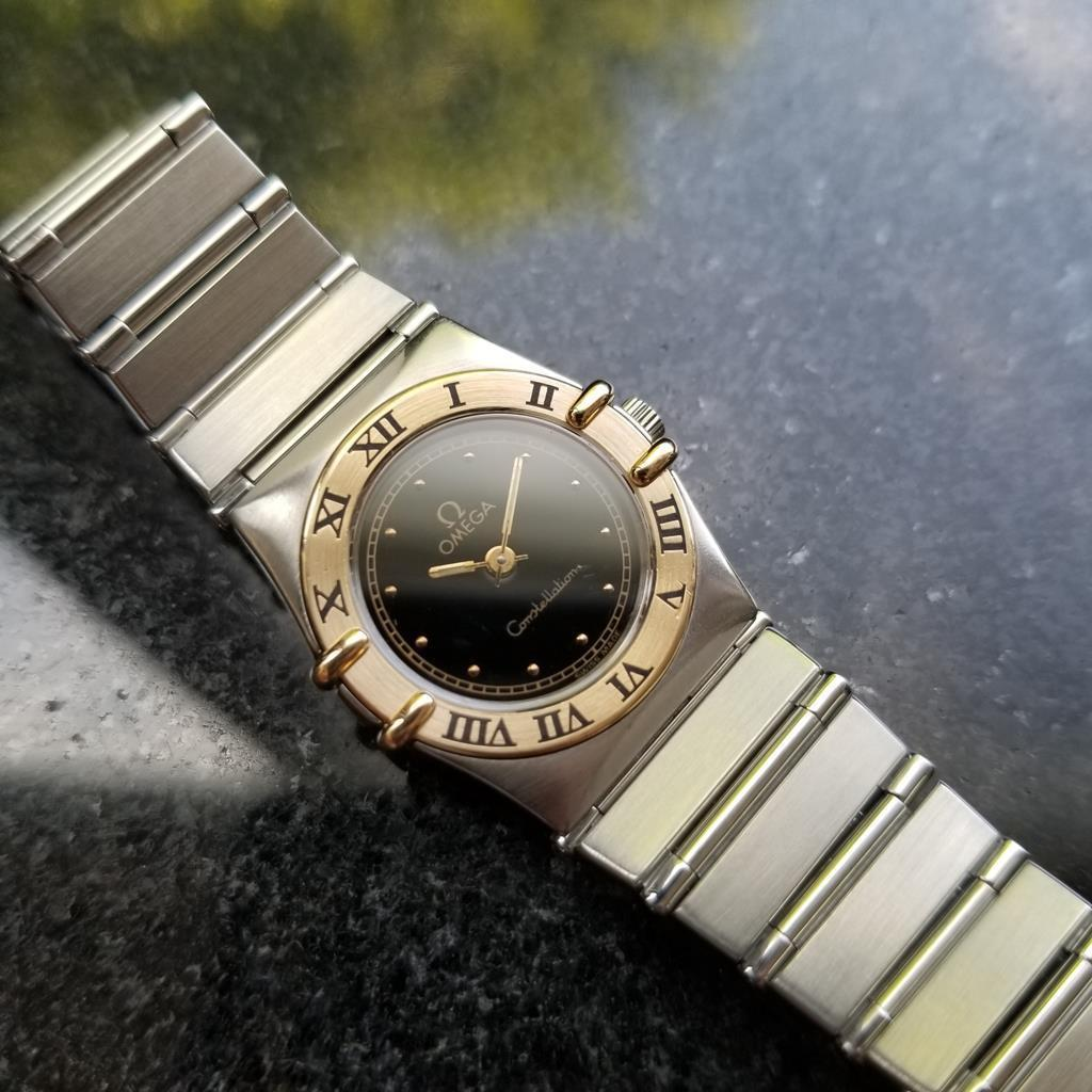 "OMEGA 18K Gold & SS Ladies Constellation ""Double Eagle"" Dress Watch c.1989 LV508"