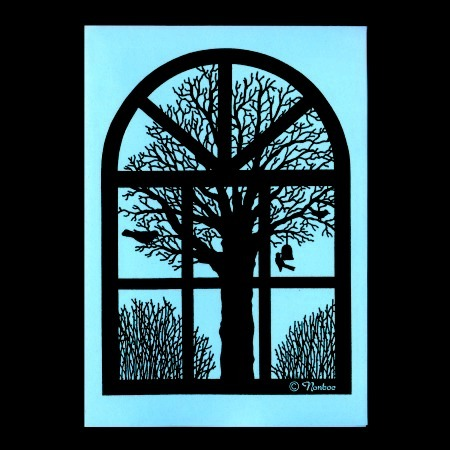 Silhouette: Winter View From Old Danish Barn Window. 6 Folded Cards by Nonboe.dk