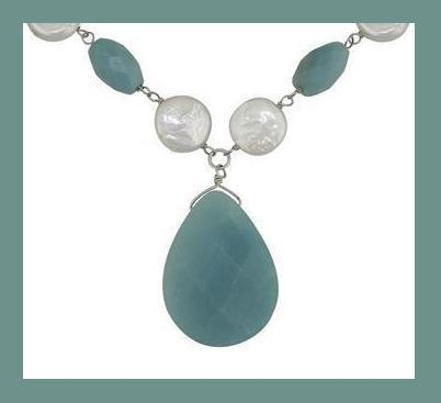 "AMAZONITE GEMSTONE WHITE PEARL STERLING SILVER 18"" NECKLACE"