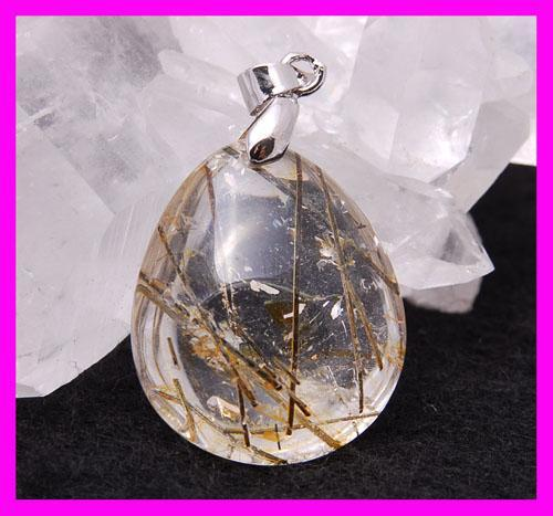 Green tourmaline   gold rutilated quartz pendant 2