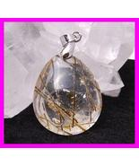 40ct Tourmaline Gold Rutile Quartz Pendant Leather Necklace - $74.99
