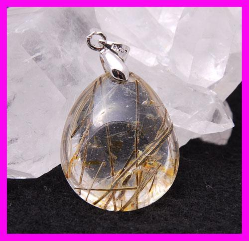 40ct Tourmaline Gold Rutile Quartz Pendant Leather Necklace
