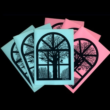 Winter View From Old Danish Barn Window. 3 Pink+3 Blue Folded Cards by Nonboe.dk