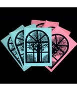 Winter View From Old Danish Barn Window. 3 Pink+3 Blue Folded Cards by N... - $10.00