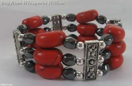 Magnetic Hematite and Red Stone with Silver Fashion Bracelet - $19.95