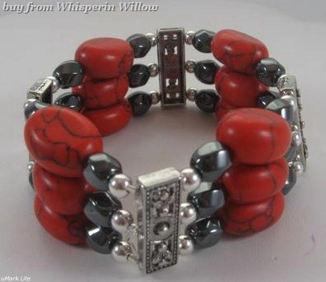 Magnetic Hematite and Red Stone with Silver Fashion Bracelet
