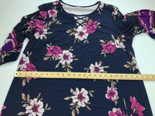 Sandra Darren Womens Dress 18W Navy Blue Criss Cross Neck Floral Shift A62-03P