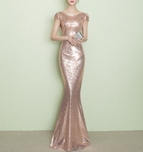 CHAMPAGNE GOLD Short Sleeve Long Sequin Dress Bridesmaid Long Maxi Sequin Dress image 4