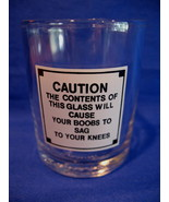Boobs Warning Sign Shot Glass Funny Comical Souvenir Joke  - $5.99