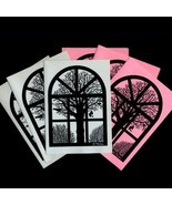 Winter View From Old Danish Barn Window. 3 Pink+3 Grey Folded Cards by N... - $10.00