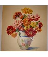 Vintage ZINNIAS Floral Print Signed, L. HART - $9.99