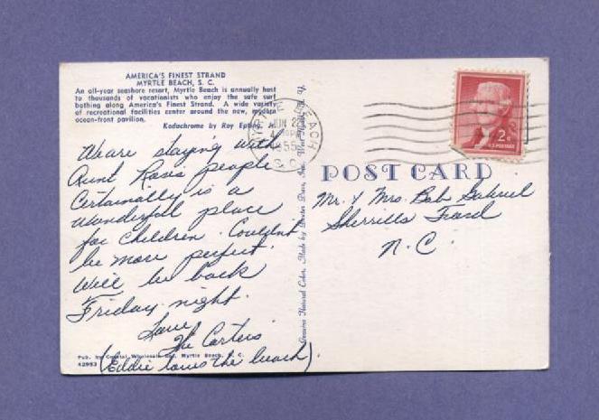 Vintage Postcard 1955 Myrtle Beach SC Ocean Shore Line Sun  Bathers