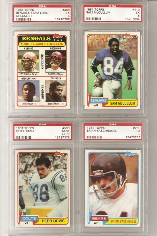 1981 Topps PSA Football Lot of 4  FREE SHIPPING