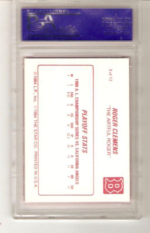 1987 Star ROGER CLEMENS #3 PSA 9 MINT
