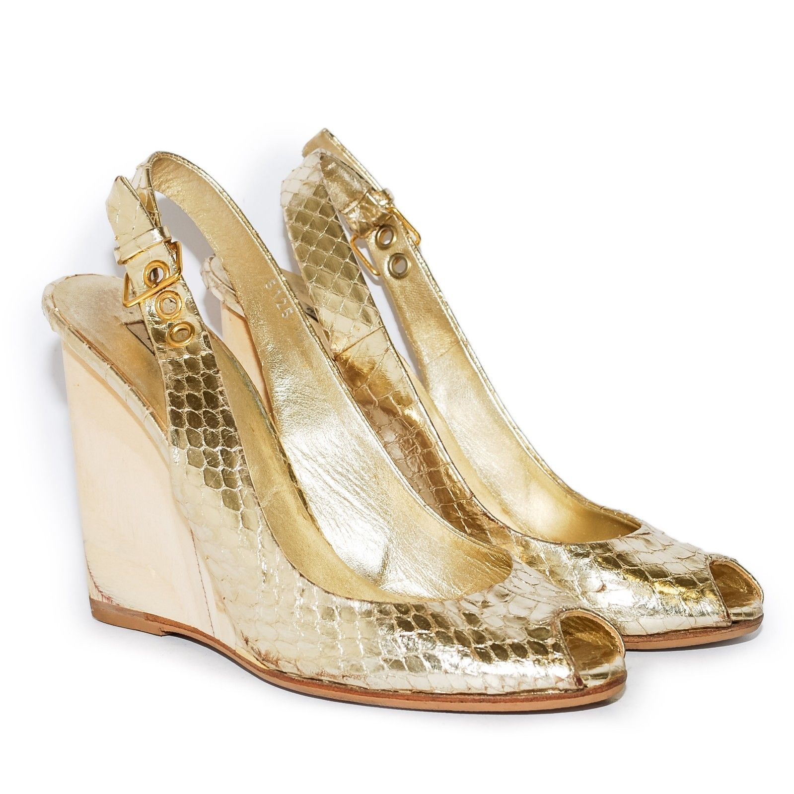 MIU MIU Gold Leather High Wedge Heel Slingbacks Sandals Open Toe Shoes Size US 6