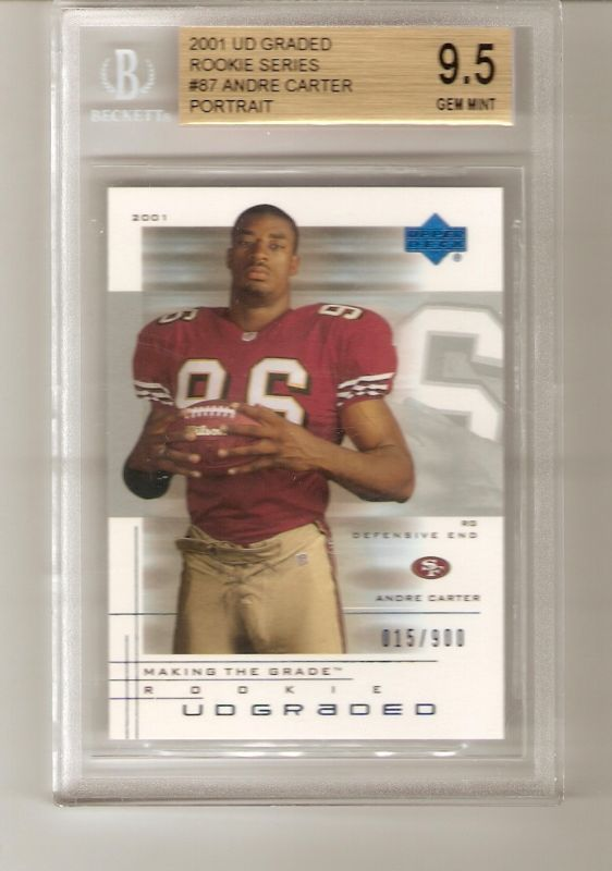 Andre Carter 2001 UD GRADED ROOKIE #87 BGS 9.5 GEM MINT