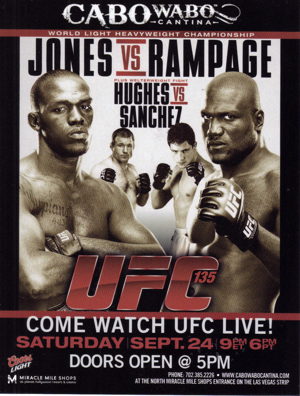 UFC 135 JONES vs RAMAPGE Vegas Boxing Card
